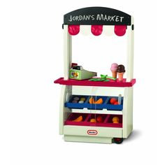 Neighborhood Market by Little Tykes. This super stand is actually three markets in one . With a quick change it can go from a fruit stand, to an ice cream shop to 65L X 32 W X 110 CM Little Tikes, Toys R Us, Kids Toys, Children's Toys, Play Grocery Store, Play Kitchen Sets, Kitchen Sync, Play Kitchens, Toy Kitchen