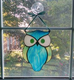 Stained Glass Owl Suncatcher - Bird Ornament - Window Decor - Blue Green Owl - Nature Decor - Housewarming Gift by StainedGlassYourWay on Etsy