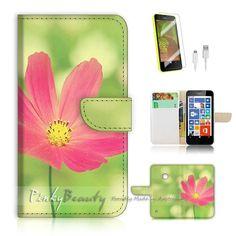 Nokia Lumia 530 Flip Wallet Case Cover! P1502 Flower