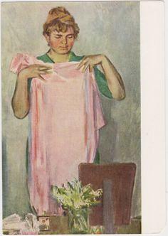"V. Vasiliev ""Before the Mirror"" Postcard -- 1968. Conditon 9/10, corner cut"