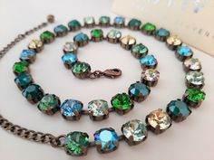 Green Blue Multicolors Bronze Tennis Necklace w/Swarovski Crystals • Antique Jewelry • Cup chain Round Setting 8mm • Women Gifts Bronze Jewelry, Antique Jewelry, Swarovski Crystal Necklace, Swarovski Crystals, Royal Green, Tennis Necklace, Affordable Jewelry, Art Deco Jewelry, Helpful Tips