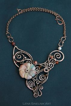 Wire wrapped jewelry Wirewrap pendant Simbircite pendant Handmade necklace Boho necklace Boho jewelry Gift for her Copper jewelry Wire wrap necklace W. Copper Jewelry, Wire Jewelry, Boho Jewelry, Pendant Jewelry, Jewelry Art, Beaded Jewelry, Jewelry Design, Pandora Jewelry, Leather Jewelry