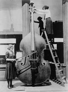 We love this picture of an octobass - almost twice the size of a regular double bass. It's lowest string is an octave below the lowest C on the piano. Not an instrument to travel with, we think...