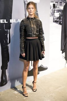 Pin for Later: These Stars Have Been Sitting Pretty in NYFW's Front Row Nina Agdal We wouldn't want to mess with this model in her spiky leather jacket.