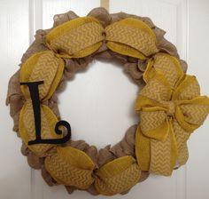 Burlap wreath for your front door in yellow with initial.