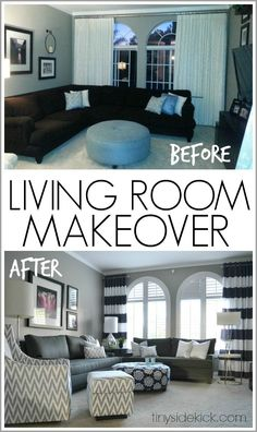 Bold and Bright Living Room Makeover - before & after.  Panels are from West Elm Shower Curtains.