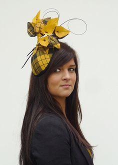 Yellow Black tartan Dutch couture minihat on aliceband. MacLeod tartan hat? Wonder where I can get some MacLean...