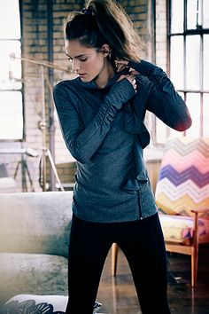 Anthropologie active wear pure + good striped ruffle jacket - adorable yoga pullover
