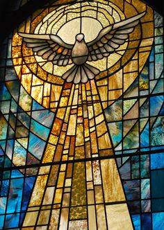 Come, Holy Spirit, fill the hearts of your faithful. And kindle in them the fire of your love. Send forth your Spirit and they shall be created. And you will renew the face of the earth.   Stained glass: Plamen Petrov