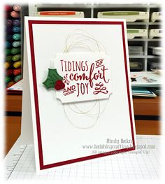 by Mindy: Christmas Pines, Holly Berry Happiness, Labels & Tags framelits, Holly Berry Punch - all from Stampin' Up!