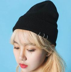 083958c50a Plain black beanie hat with metal ring decor for winter knit hats
