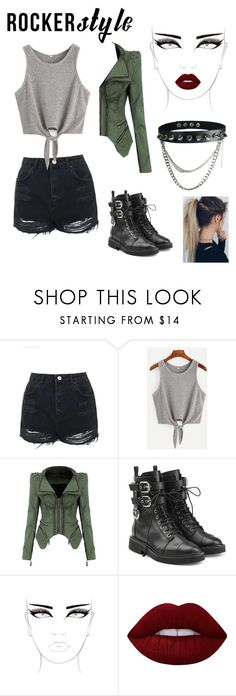 """""""concert style"""" by hoe-no ❤ liked on Polyvore featuring Topshop, Giuseppe Zanotti, Lime Crime, Capelli New York, rockerchic and rockerstyle"""
