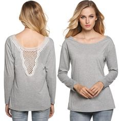 Finejo Brief Women Long Sleeve Lace Patchwork Blouse Tops