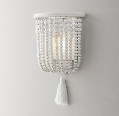 Dauphine Wood Demilune Sconce - Weathered White