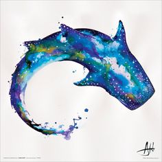 Water color whale shark