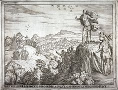 This image is a cartoon that is depicting the Augury between Romulus and Remus, which would decide who is the rightful ruler of Rome. In the image, the Cartoonist is depicting Romulus spotting 12 birds and Remus spotting 6 birds, thus making Romulus the winner. This image is representing the story of Romulus winning the Augury, and thus believing that the Gods chose him as the rightful ruler of Rome.