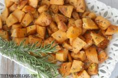 Rosemary Parmesan Sweet Potatoes are tossed in fresh rosemary and parmesan then roasted to perfection! This easy recipe makes the perfect side dish for any occasion.
