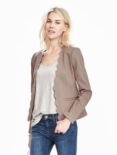 Banana republic blazer. $168. Love the neutral color, structure, and scalloped edge detail