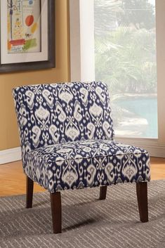 Unique Pattern Navy Blue And White Armless Accent Chair