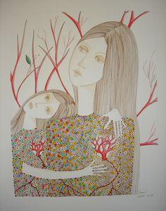 Dessin encres colorées et peinture acrylique.