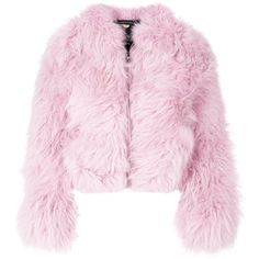 Charlotte Simone fluffy jacket ($698) ❤ liked on Polyvore featuring outerwear, jackets, tops, pink fur jacket, zip front jacket, charlotte simone, pink jacket and fur jacket