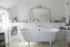 white bathroom with claw foot tub ... shabby romantic cottage farmhouse