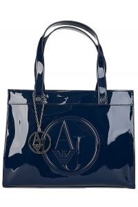 Armani Jeans Womens Small Patent Shopper Navy Circle Fashion, Armani Jeans, Purses And Bags, Handbags, My Favorite Things, Clothes For Women, Lady, Nice, Outerwear Women