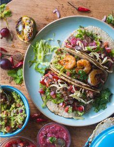 Tacos mit Beef oder Garnelen und 3 Salsas - It's Taco Time V