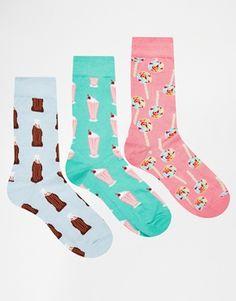 ASOS - Confezione da 3 paia di calzini con stampa di dolci