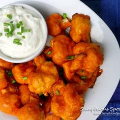 """Buffalo Cauliflower """"Wings"""" with Blue Cheese Dip - use plain grek yogurt, full fat mayo and sour cream to lower the carbs"""
