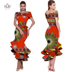 BRW 2017 New African Wax Print Dresses for Women Bazin Riche Cotton Party Dress Dashiki Sexy African Fashion Clothing WY1150