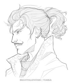 by brightfallenstars on tumblr: Dorian with a ponytail! A loose hair sketch is up next. But woah this was so much fun to draw!! Also some ear piercings because I think they fit him.