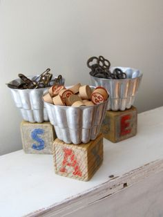 Repurposed jello molds. Sweet little display. #upcycle, #recycle #repurpose