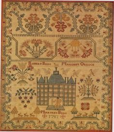 Scottish Embroidery: Mediaeval to Modern--Margaret Boog's 1761 sampler. She put her parents' names and included a man carrying on a staff before the steps of a large house. Silk threads on wool. http://www.amazon.com/gp/customer-media/product-gallery/0713446382/ref=cm_ciu_pdp_images_1/189-1672927-3260714?ie=UTF8=1