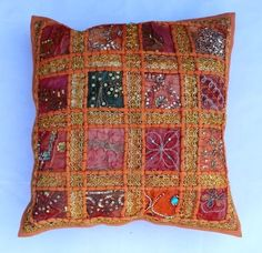 indian Handmade Patchwork cotton Cushion Cover Home Decor Pillow Cases KH111 #Handmade #Ethnic