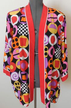 Vintage Bob Mackie Wearable Art Top 2X Silk Geometric Op Art #BobMackie #Top
