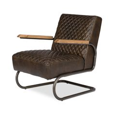 Kick back with your favorite book on this soft, supportive lounge chair. Constructed of sleek bronzed metal with padded leather upholstery and rustic modern wooden armrests, this unique chair is perfec...  Find the Librarian's Leather Lounge, as seen in the Best of Industrial Sale Collection at http://dotandbo.com/collections/black-friday-style-sale-industrial?utm_source=pinterest&utm_medium=organic&db_sku=104172