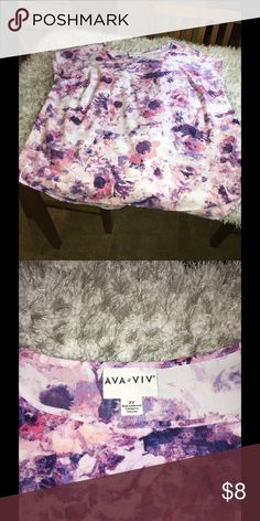 Hold-not for sale @vlovelace Short sleeve top. Pull over blouse style.  Pink and purple pastel print.  Size 2X.  From Ava & Viv.  Good condition.  Important:   All items are freshly laundered as applicable prior to shipping (new items and shoes excluded).  Not all my items are from pet/smoke free homes.  Price is reduced to reflect this!   Thank you for looking! Ava & Viv Tops Blouses