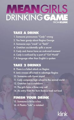 Official Mean Girls Drinking Game - House Party - Drinking games Pajama Party Games, Slumber Party Games, Fun Party Games, Adult Party Games, Adult Games, Slumber Parties, Pyjama Party, Sleepover, Adult Slumber Party