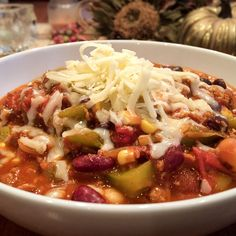 Grab your slow cooker and the ingredients for this wonderful chili and you have a party in the making. Everything goes into the cooker and emerges two hours later as vegetarian chili. Vegetarian Chili, Vegetarian Recipes, Healthy Recipes, Yummy Recipes, Free Recipes, World Recipes, Whole Food Recipes, Cooking Recipes, Cooking Food