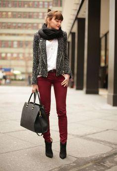 tweed jacket with burgundy
