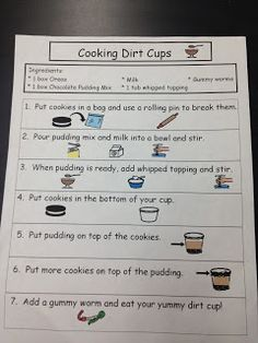 Cooking Dirt Cups! Visual recipe and comprehension sheets! www.autismtank.blogspot.com