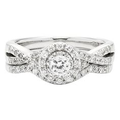I Am Loved® 5/8 ct. tw. Diamond Halo Engagment Ring Set in 10K White Gold - 2182597