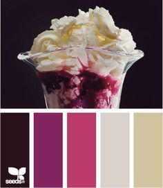 """Previous pinner said: """"My exterior colors are shown above in the five shades. Never thought of my house colors as sunday ice cream shades, which explains the great thrill I have when seeing my home when I turn on my street :0) Exterior siding is taupe (#5), shutters/trim are sea shell grey (#4) doors are dark purple ( #2) Delicious! via: seeds.com"""""""