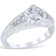 """Whitehouse Brothers 14K White Gold """"Rosario"""" Diamond Engagement Ring with Round Cut Tapered Diamonds & Traditional Wheat Pattern Engraving. Style 8260"""