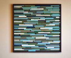 Bois Wall Art - récupéré Sculpture d'Art en bois Fait sur commande ou personnaliser ce look: Vert et turquoise? OUI! Cette combinaison de couleurs est incroyable. J'ai utilisé une technique de peinture qui crée une transparence afin que chaque pièce de bois est plein de variation