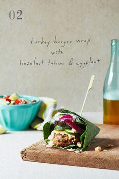 Burgers Three Ways: turkey burger wrap with hazelnut tahini & eggplant
