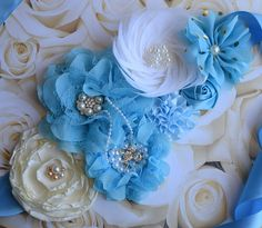 Ivory and blue maternity sash feather flower maternity sash