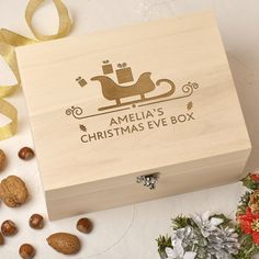 This personalised laser engraved wooden 'Christmas Eve Box' is a great way to keep all those special keepsakes and mementos safe. Wooden Christmas Eve Box, Personalised Christmas Eve Box, Its Christmas Eve, Christmas Gift Box, Christmas Ideas, Christmas Crafts, Holiday, Wood Burning Crafts, Wood Crafts