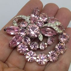 Vintage EISENBERG ICE FLORAL SPRAY CLUSTER BROOCH PIN Pink Rhinestone Jewelry #Eisenberg